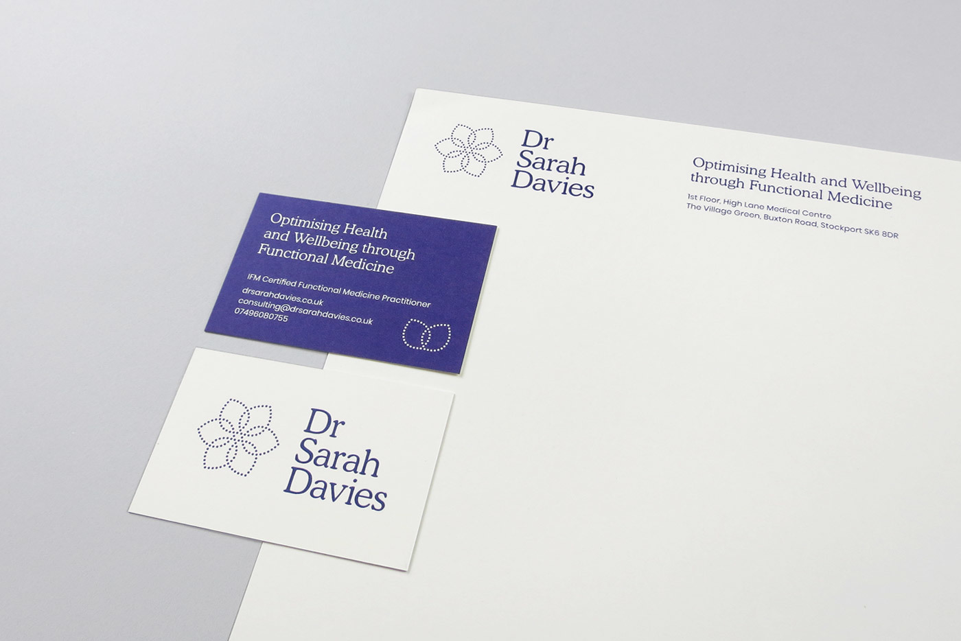 Dr Sarah Davies Stationery Business Cards Letterhead