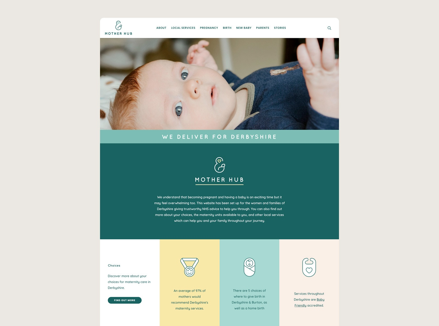 Medical web design agency branding raw nhs mother hub 3