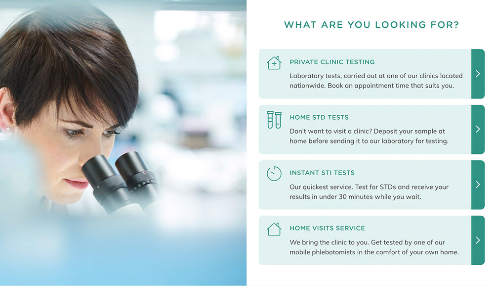 Your Sexul Health private clinic testing digital design